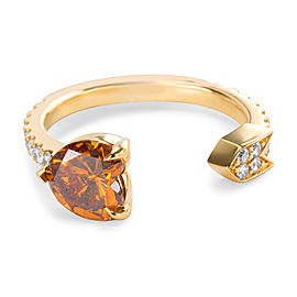 GIA Certified Fancy Deep Yellowish Heart Shape Diamond Ring in 18K Gold 1.35 ctw