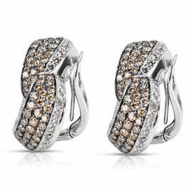 Brown & White Diamond Heart Earrings in 18KT White Gold 7.00 ctw