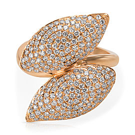 Diamond Pave Leaves Cocktail Ring in 18k Rose Gold (1.05 CTW)
