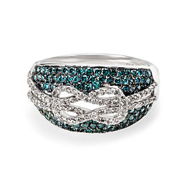 Pave Blue Diamond Infinity Ring in 10KT Gold 0.90 ctw