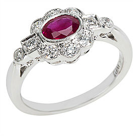 Diamond & Ruby Vintage Style Ring in 18K White Gold (0.32 CTW)