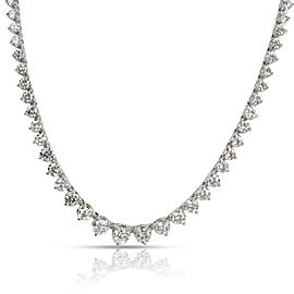 Three Prong Diamond Tennis Necklace in 18K White Gold 7.52 CTW