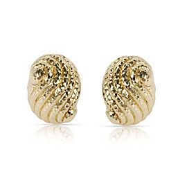 Vintage David Webb Shell Clip On Earrings in 18K Yellow Gold