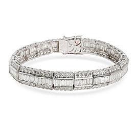 Baguette & Round Diamond Lace-Edged Bracelet 18K White Gold 7.92 ctw