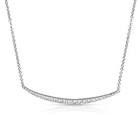 Nicole Rose Arc Diamond Curved Bar Necklace in 18K White Gold 0.48 CTW