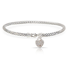 David Yurman Diamond Lock Cable Bangle in Sterling Silver (0.11 CTW)