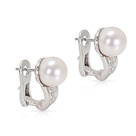 Bvlgari Pearl & Diamond Earrings in 18K Yellow Gold (0.16 CTW)