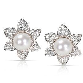 Diamond & Pearl Earrings in 18K White Gold
