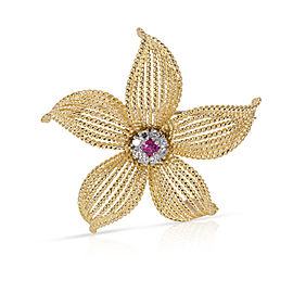 Tiffany & Co. Vintage Diamond & Ruby Flower Pin