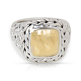 John Hardy Palu Hammered Gold Square Ring in Sterling Silver & 22K Yellow Gold