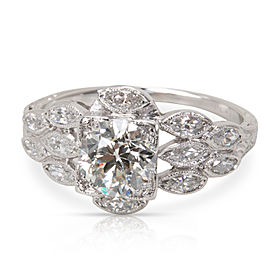 IGI Certified Old Euro Cut Diamond Engagement Ring in Platinum (1.50 ctw)