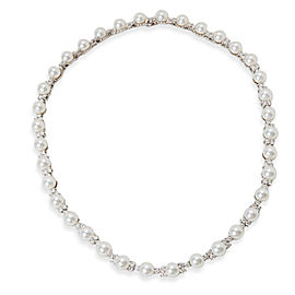 Tiffany & Co. Aria Diamond & Akoya Pearl Necklace in Platinum 5.40 ctw