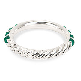 David Yurman Osetra Green Onyx Band in Sterling Silver