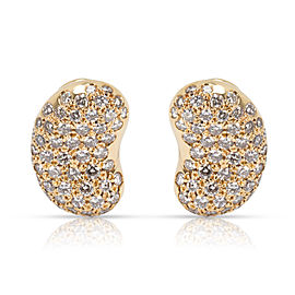 Tiffany & Co. Elsa Peretti Vintage Diamond Bean Clip On Earrings in 18K Gold