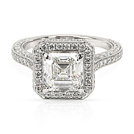 Blue Nile Halo Asscher Diamond Engagement Ring in Platinum GIA G IF 2.35 CTW