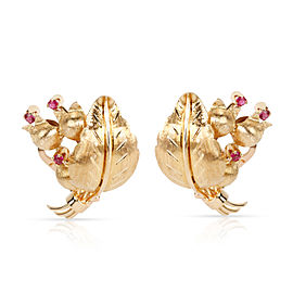 Estate Tiffany & Co. Lily of the Valley Flower Ruby Earrings in 18K Yellow Gold