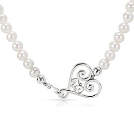 Tiffany & Co. Paloma Picasso Venezia Heart Pearl Necklace in Sterling Silver