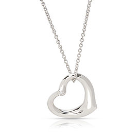 Tiffany & Co. Elsa Peretti Open Heart with Diamond Necklace in Sterling Silver