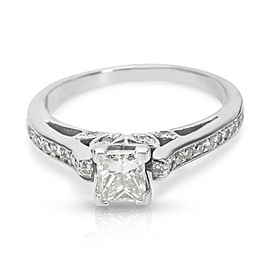 Princess Cut Diamond Engagement Ring in 14K White Gold with Diamonds (0.98 CTW)