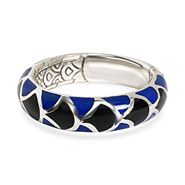John Hardy Legends Naga Blue & Black Enamel Band in Sterling Silver