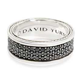 David Yurman Pave 3 Row Black Diamond Band in Sterling Silver 1.84 CTW