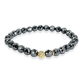 Lagos 6.1 mm Hematite & Caviar Bead Bracelet in 18KT Yellow Gold