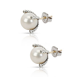 David Yurman Pearl & Diamond Stud Earring in Sterling Silver 0.04 CTW