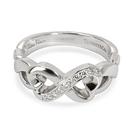 Tiffany & Co. Loving Heart Infinity Diamond Ring in 18K White Gold 0.05 CTW