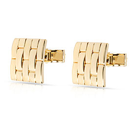 Basket Weave Cufflinks in 18K Yellow Gold