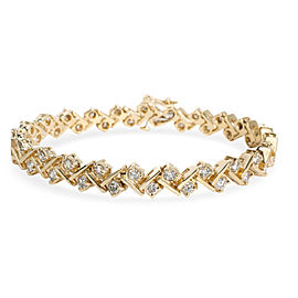 Diamond Tennis Bar Bracelet in 14K Yellow Gold 2.76 CTW