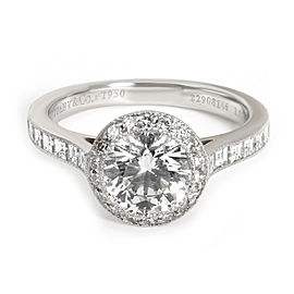 Tiffany & Co. Halo Diamond Engagement Ring in Platinum E VVS2 1.51 CTW