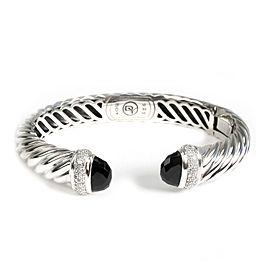David Yurman Waverly Diamond Cuff Bangle in Sterling Silver 0.28 CTW