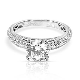 Simon G Pave Eternity Diamond Engagement Ring Setting in 18K White Gold 0.75 CTW