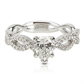 Certified Simon G Pear Shape Diamond Engagement Ring in 18KT White Gold 0.98 ctw