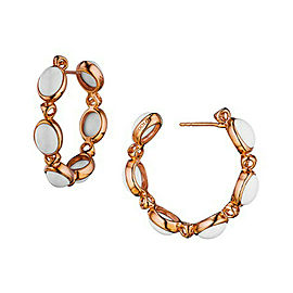 Di Modolo White Agate Hoop Earring 18K Rose Gold Rhodium Plated Silver MSRP 750