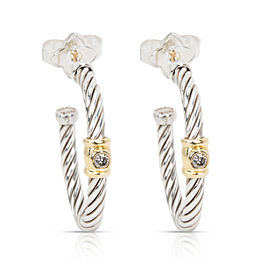 David Yurman Cable Diamond Hoop Earring in 18K Gold/Sterling Silver 0.10 CTW