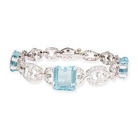 Vintage Aquamarine & Diamond Bracelet in Platinum 5.00 CTW