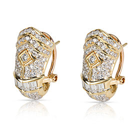 Round & Baguette Diamond Shrimp Earrings in 18K Yellow Gold (1.50 CTW)