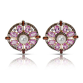 Multi Colored Sapphire & Diamond Earrings in 14K Yellow Gold 0.88 CTW