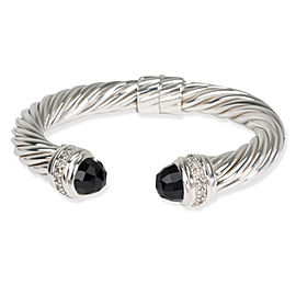 David Yurman 10mm Cable Kick Diamond & Onyx Cuff in Sterling Silver 0.5 CTW
