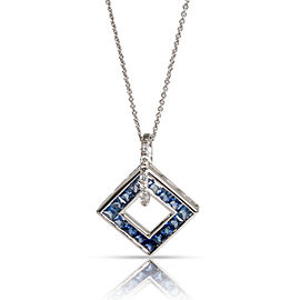 Open Square Sapphire & Diamond Necklace in 14K White Gold Blue 0.1 CTW