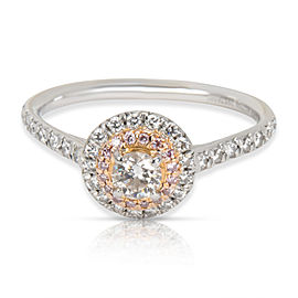 Tiffany & Co. Soleste Pink Diamond Halo Engagement Ring in Platinum 0.51ctw