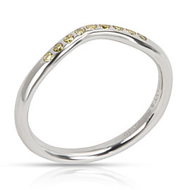 Tiffany & Co. Elsa Peretti Curved Yellow Diamond Band in Platinum 0.08 ctw