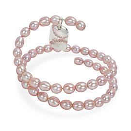 Tiffany & Co. Elsa Peretti Spiral Pink Pearl Bracelet in Sterling Silver