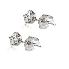 GIA Certified Round Cut Diamond Stud Earring in 14K White Gold I-SI1 0.72 CTW