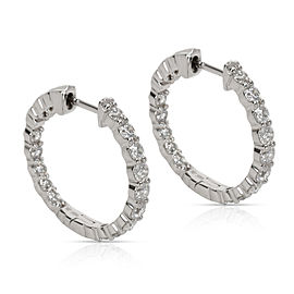 Diamond Hoop Earring in 14K White Gold 1.98 CTW
