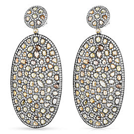 Rose Cut Diamond Fashion Earrings in 16k White Gold (21.13 CTW)