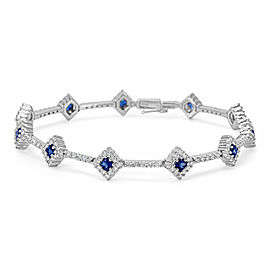 Diamond & Sapphire Bracelet in 18k White Gold (2.44 CTW)