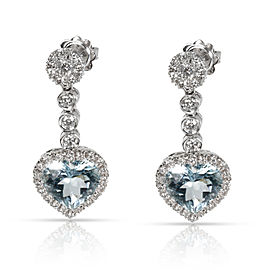 Favero Heart Shaped Blue Topaz & Diamond Drop Earring in 18K Gold 0.88 CTW
