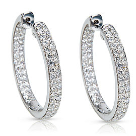 BRAND NEW Inside Out Diamond Hoop Earrings in 14K White Gold (1.89 CTW)